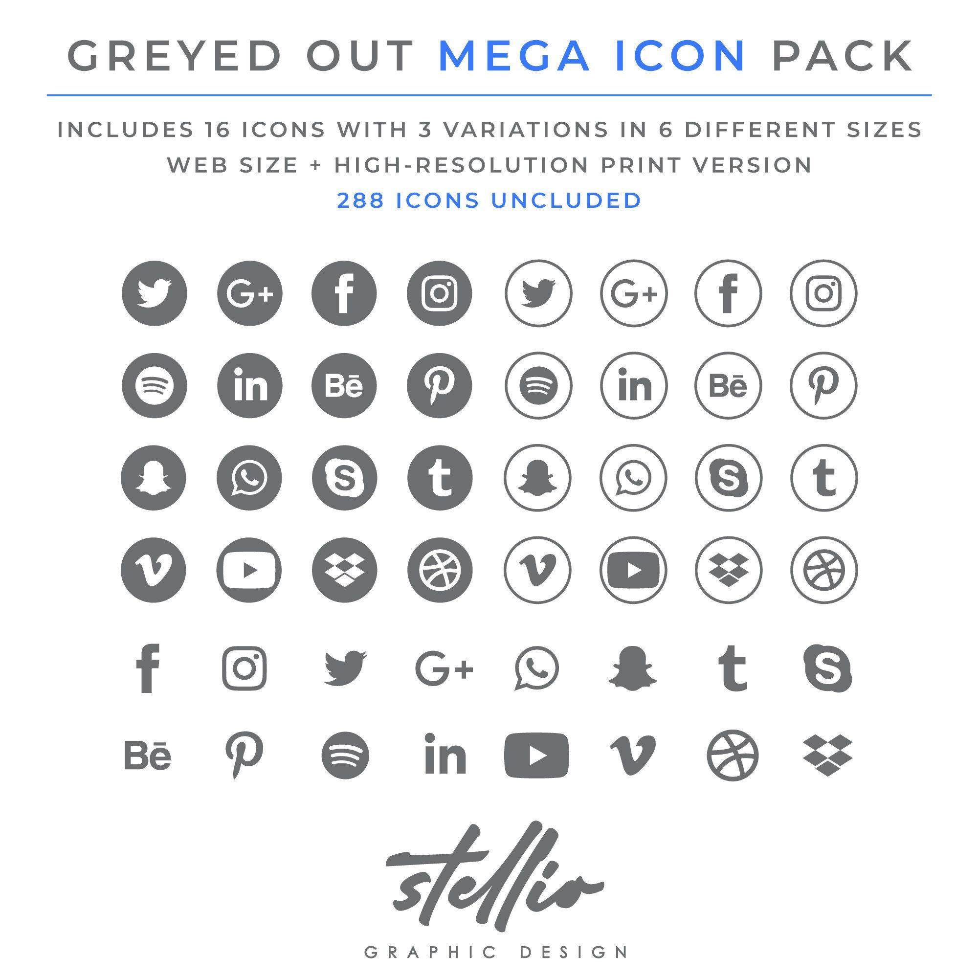 Social Media Icon Set Grey Greyed Social Media Graphic Icons Social Media Logo Facebook Instagram Pinterest Youtube Twitter Social Media Icons Social Media Logos Snapchat Icon