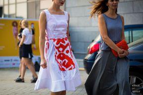 Masha Tsukanova of Vogue Ukraine before Valery Kovalska fashion show. STYLE DU MONDE on Instagram @styledumonde, Pinterest, Twitter, Tumblr and Facebook