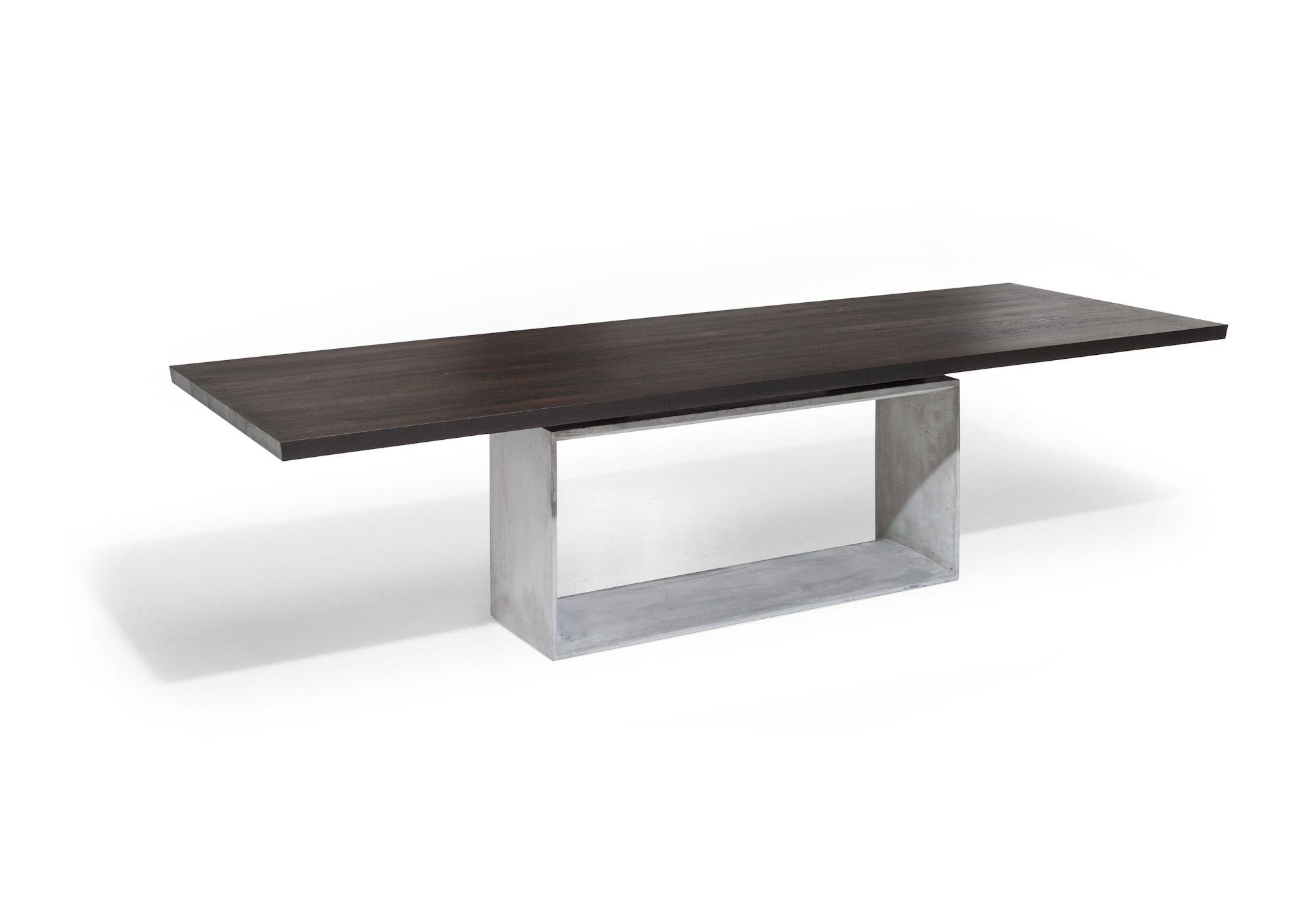 Esstisch | Platte Eiche, dunkel | Gestell Beton - bei Möbel ...