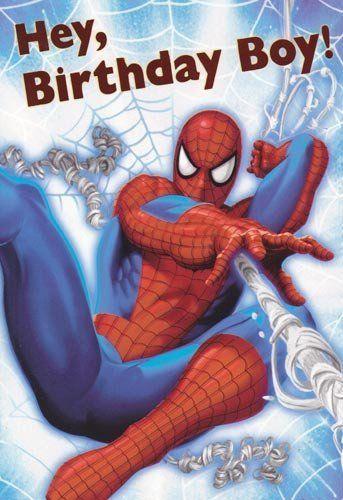 "Greeting Card Birthday Spider-man ""Hey, Birthday Boy"" by Greeting Cards -"