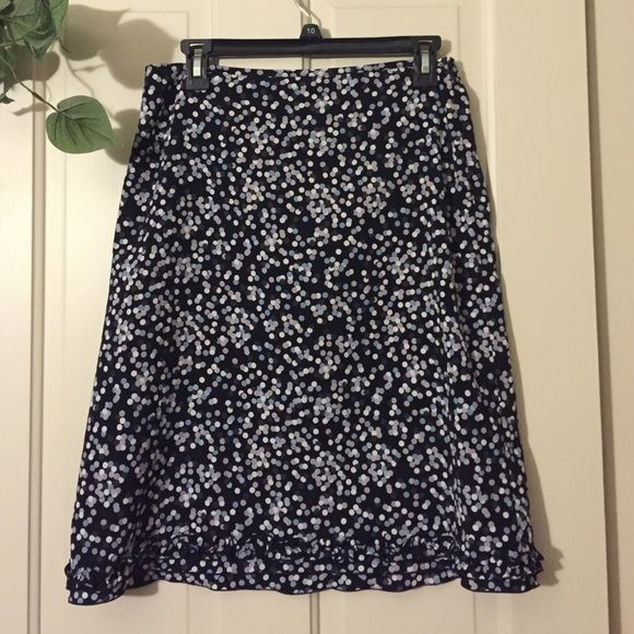 Limited polka dot skirt Polka dot skirt. Worn a few times and went to the back of the closet. Small ruffles at bottom hem. Side zipper The Limited Skirts