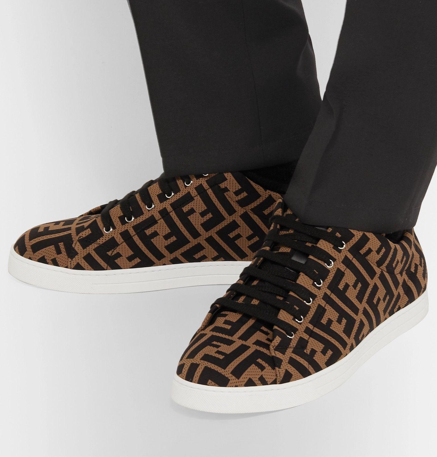 Fendi Leather-trimmed Logo-jacquard