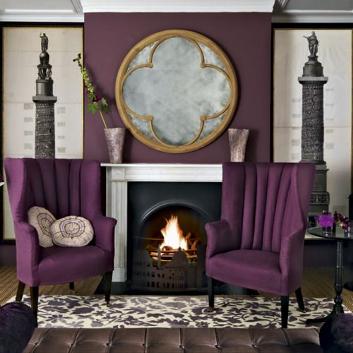 Color Palette Deep Purple Blackberry And Aubergine Purple Living Room Pretty Living Room Living Room Designs