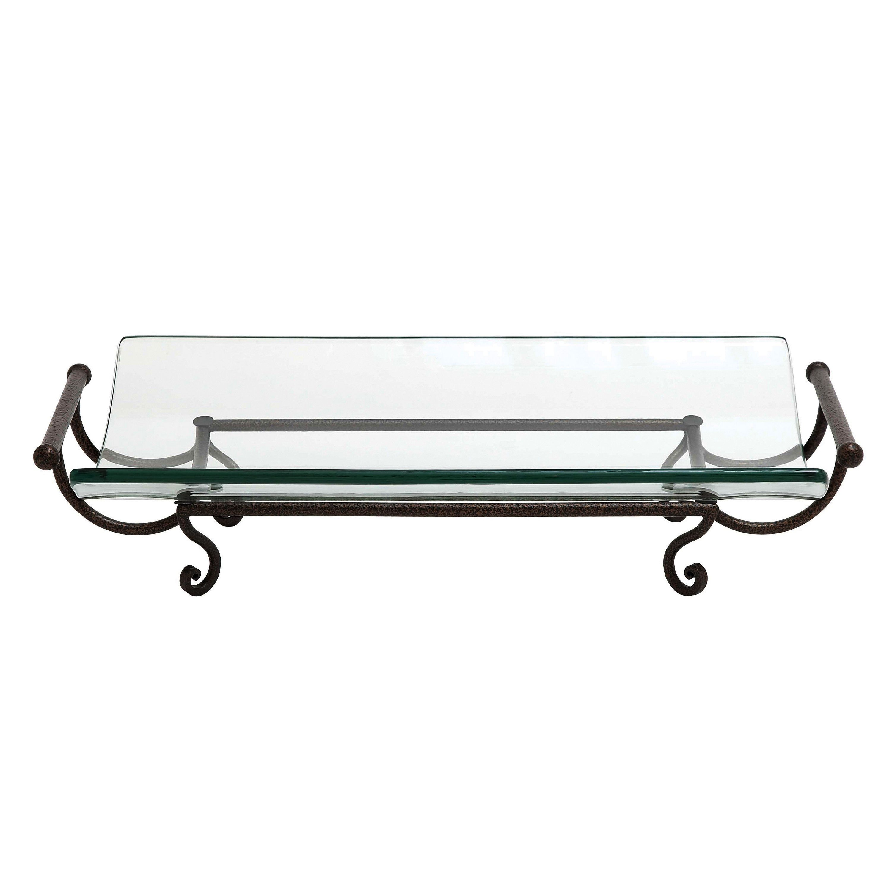 This artful piece is a great decoration on dining tables as well as cocktail and side tables. The translucent glass bowl is cradled in a metal stand and is an ideal display piece.  It is stunning on its own or filled with decorative balls or accents.