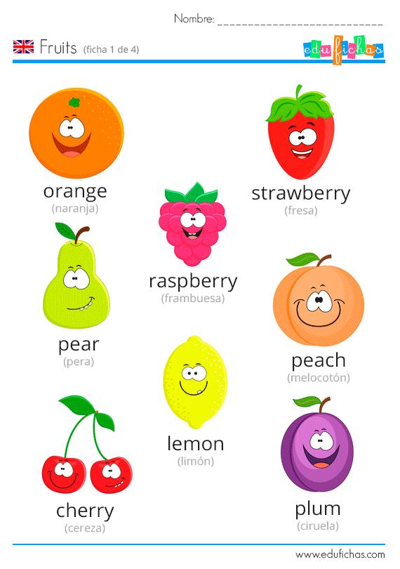 Fichas Para Imprimir Con Vocabulario Y Ejercicios Sobre Las Frutas En Inglés Aprende Ingles Para Preescolar Ingles Basico Para Niños Ingles Para Principiantes
