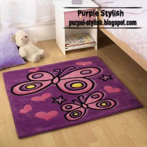 Purple Butterfly Carpet For Kids Girls Room Tappeti Bambini