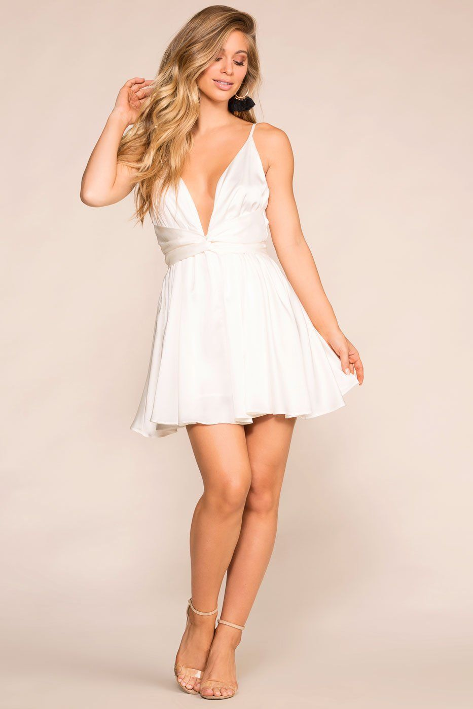 Take The Plunge White Skater Dress In 2020 White Skater Dresses Dresses White Plunge Dress