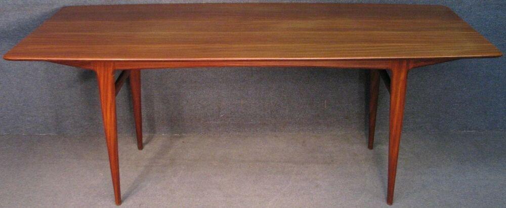 1960s Solid Teak Long Narrow Kitchen Dining Table Long Narrow