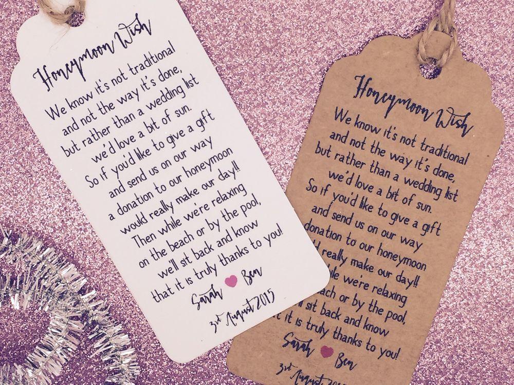 Monetary Wedding Gifts: Details About Wedding Honeymoon Fund Money Request Poem