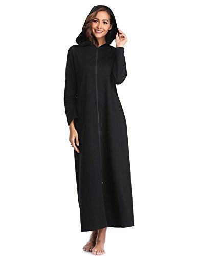 Lusofie Femmes Zippée Dressing Robe Capuche Longue Peignoir Manches