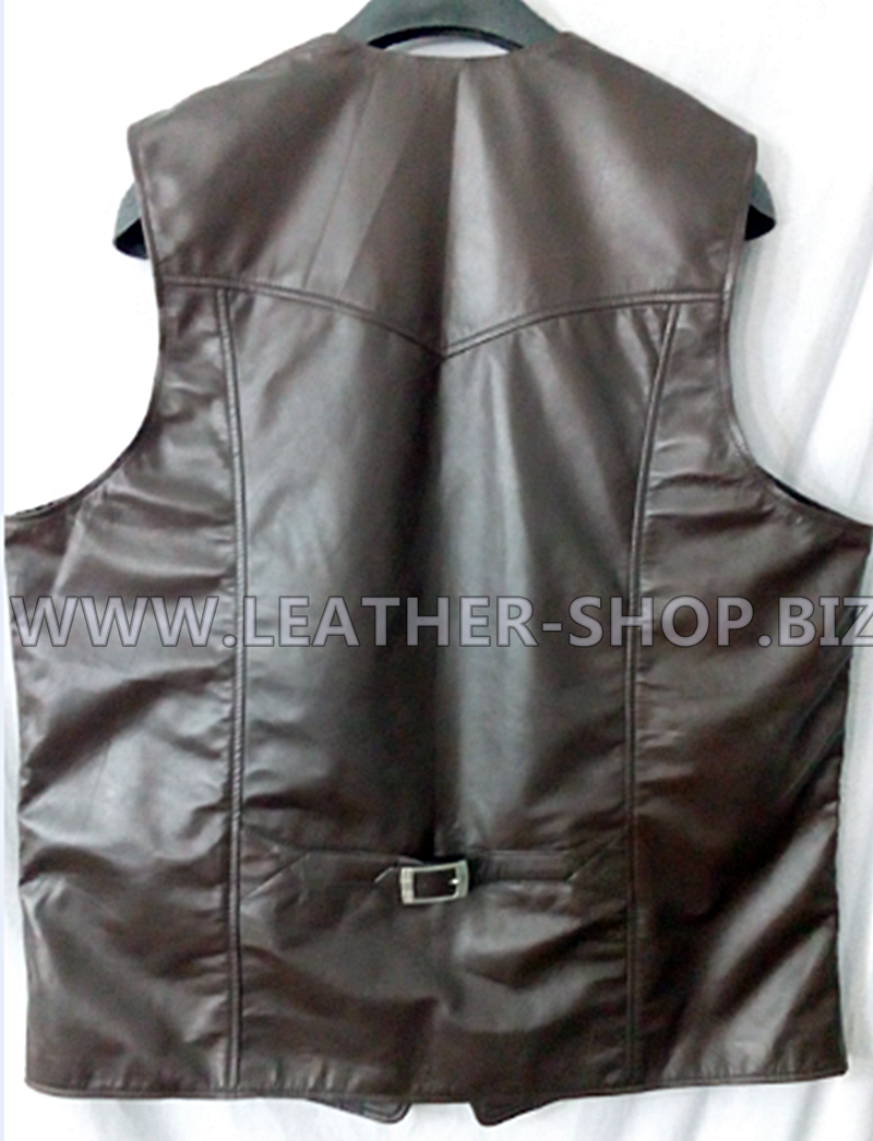 b1f939fa Back pic Dark Brown leather Vest MLV85 available at www.leather-shop.biz  starting at only $199.99