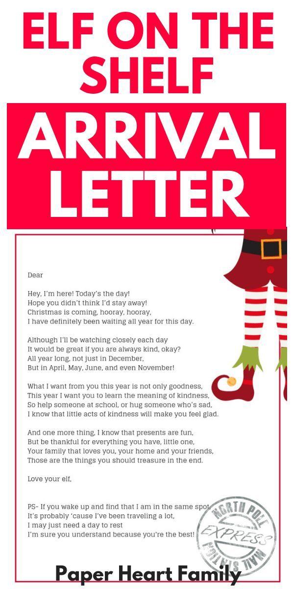 Arrival Ideas For Elf On The Shelf- Welcome Letter #elfontheshelfarrival