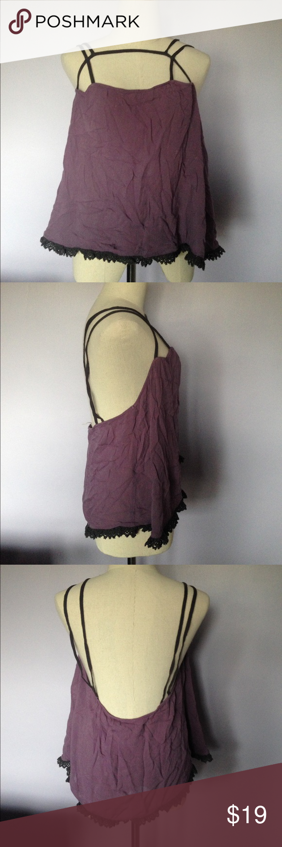 Free People Intimates Light Purple Strappy Tank Free People Intimates Light purple strappy tank. Material is somewhat see-through. 100% rayon. Free People Intimates & Sleepwear Chemises & Slips