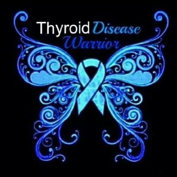 Thyroid Disease Warrior Blue Butterfly Ribbon Thyroid Awareness