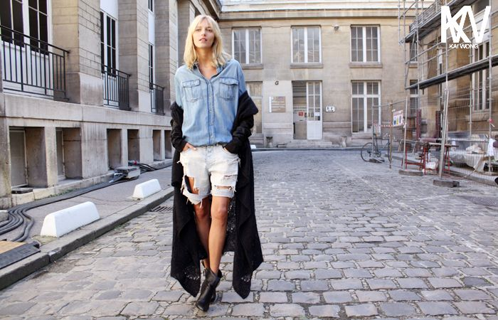 I love the shredding. Via Anja Rubik #style #fallfashion