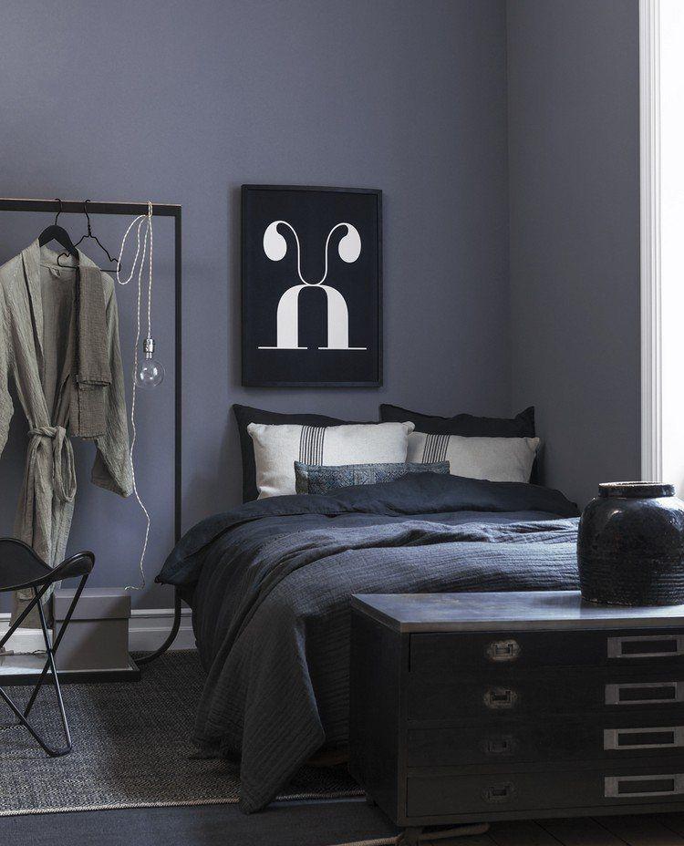 graue Wandfarbe und schwarze Schlafzimmermöbel | Schlafzimmer in ...