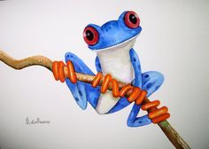 """An ORIGINAL  watercolour TREE FROG  painting by artist Maria Moss. A4 size painting 12"""" x 8.5"""""""