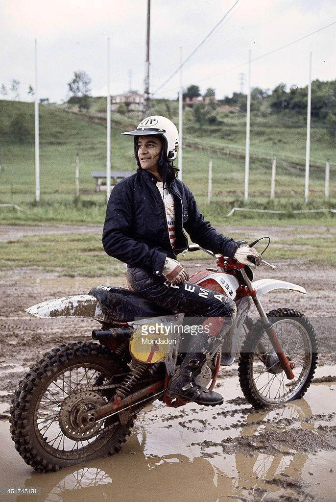 Italian singer Drupi (Giampiero Anelli) driving a motocross. Italy, 1977