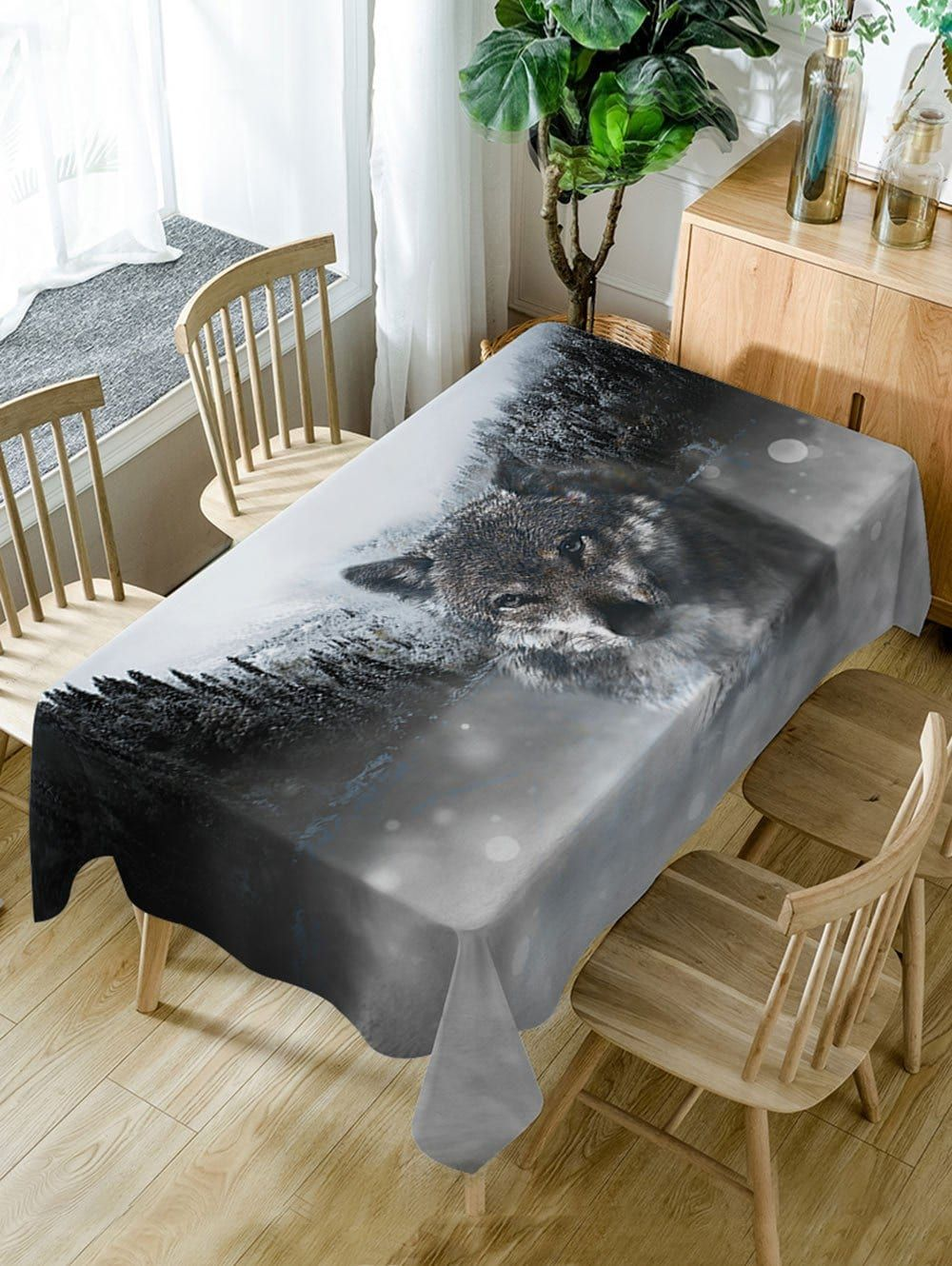 Wolf Print Fabric Waterproof Dining Table Cloth Dining Table