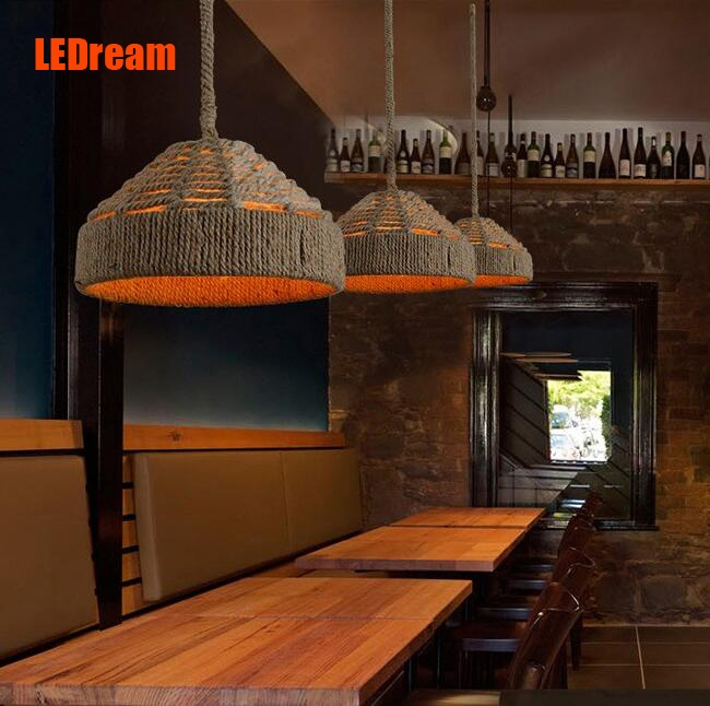 105.00$  Watch now - American rural idyll hemp rope chandelier , wrought iron creative old bar and coffee shop sitting room dining-room droplight  #aliexpresschina
