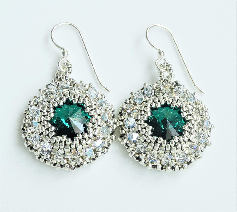 8a5b63af2 elegant beaded earrings-sterling silver and emerald swarovski crystal-miyuki  delica seed beads-miyuki earrings-seed bead earrings #etsy #jewelry # earrings ...