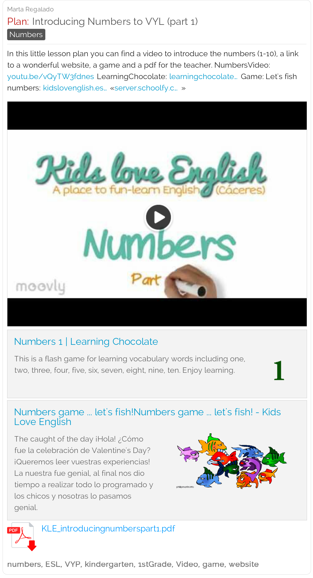 Introducing Numbers To Vyl Very Young Learners