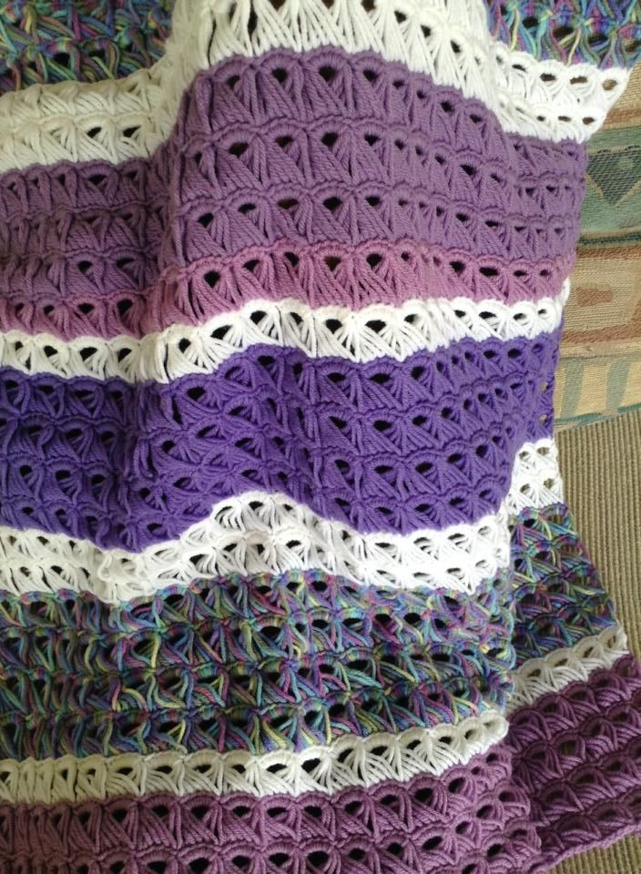 Broomstick Lace Afghan In Pretty Shades Of Purple No Pattern