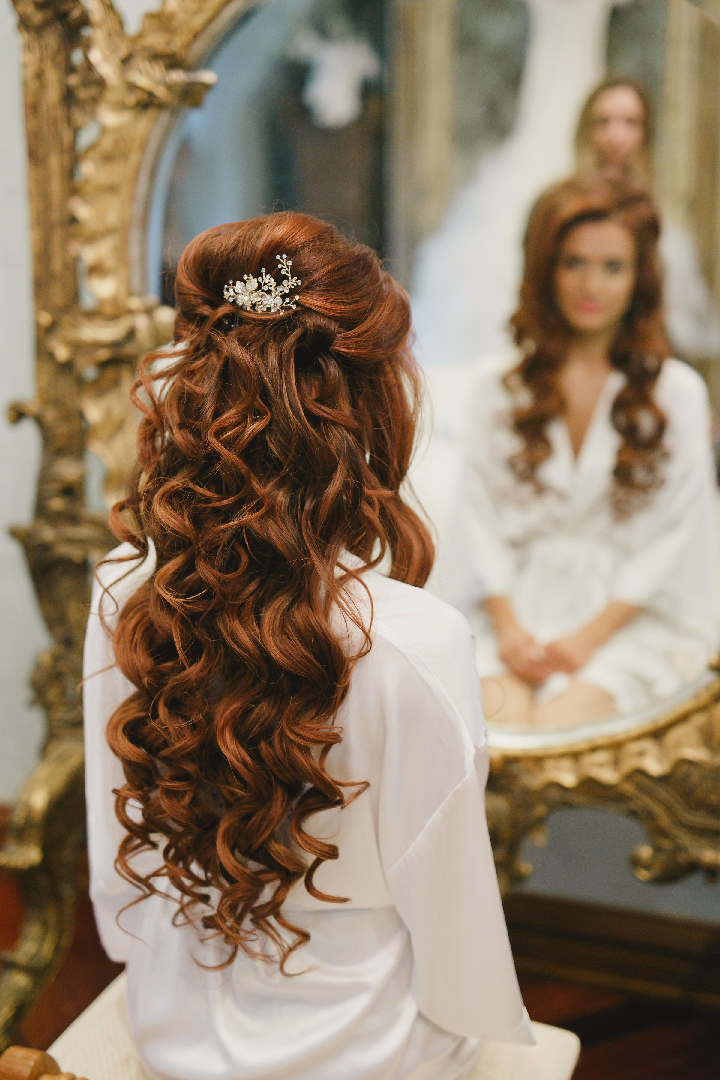 Half Up Half Down Wedding Hair Bridal Hairstyle For Long Hair Curled Hair With Lots Wedding Hairstyles For Long Hair Curled Wedding Hair Curls For Long Hair