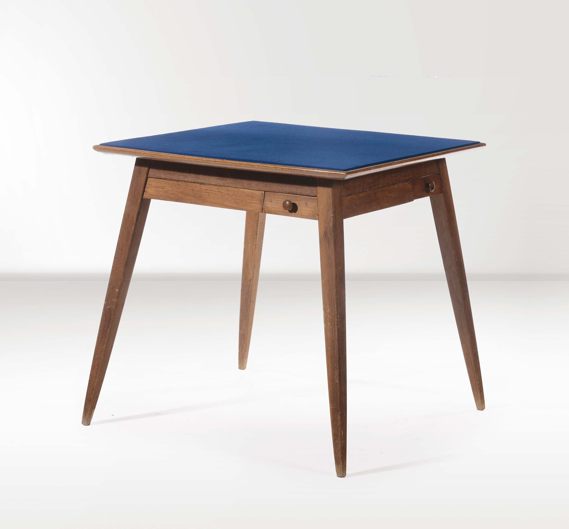 Gio Ponti, Unique Oak Game Table for the Mazzocchi Residence, 1950s.