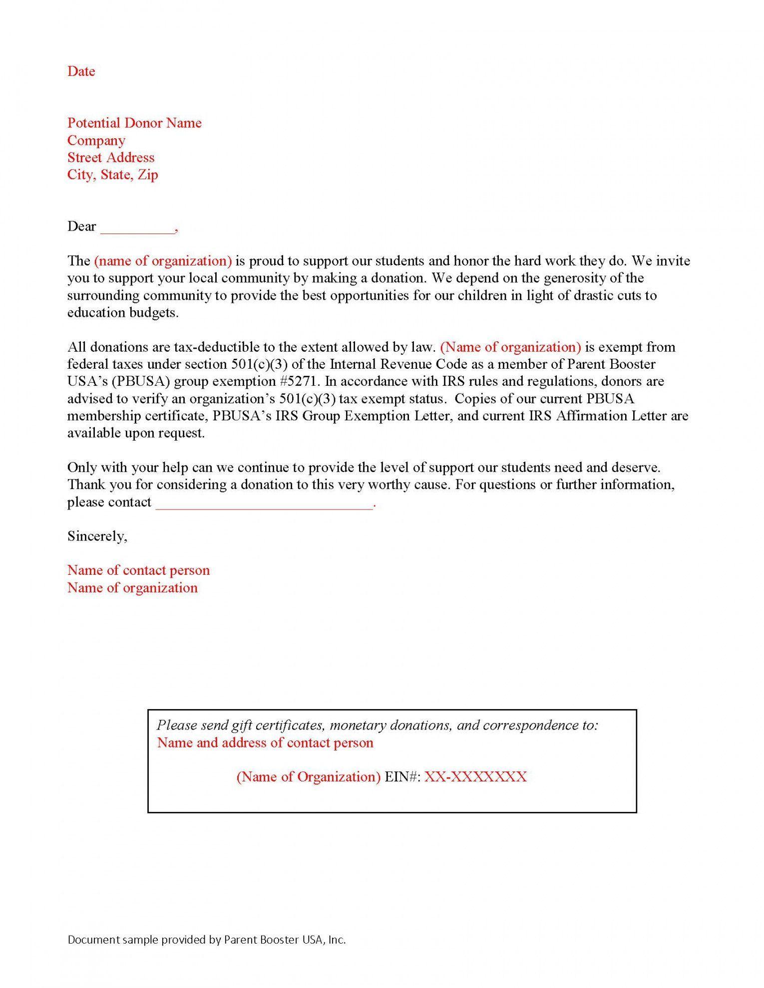 Donation Solicitation Letter Template Parent Booster Usa Fundraising Solicitation Letter Tem Donation Letter Template Lettering Solicitation Letter