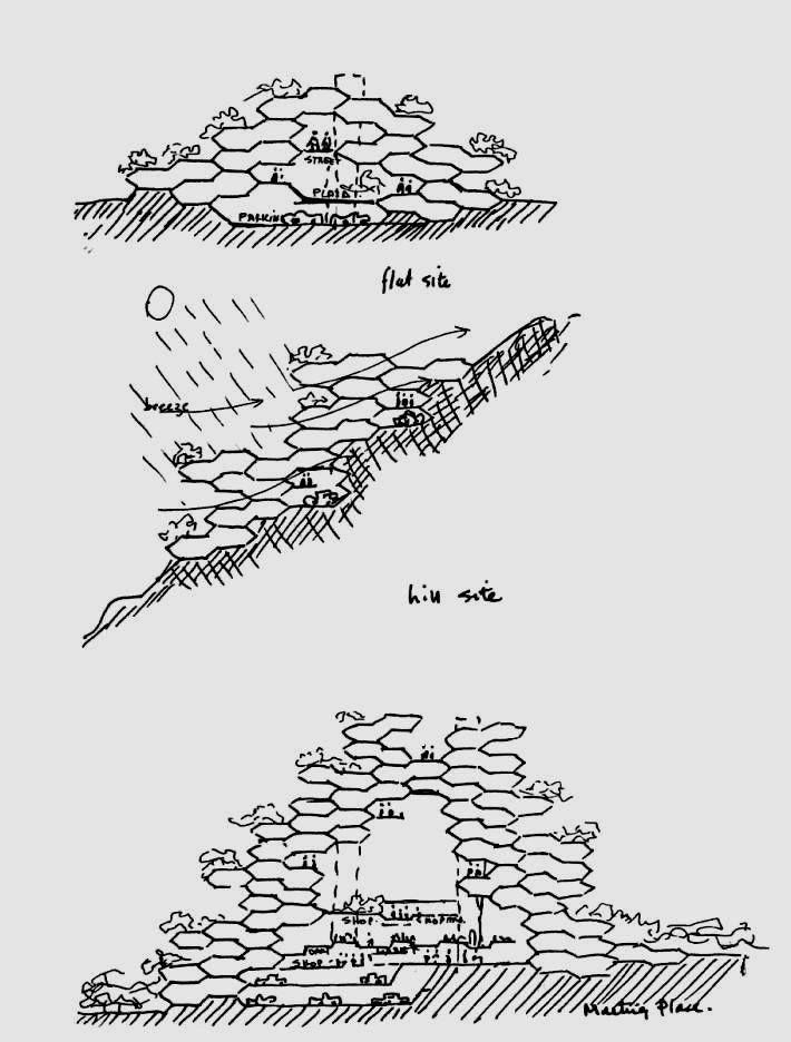 moshe safdie  puerto rico habitat  sketch 1968