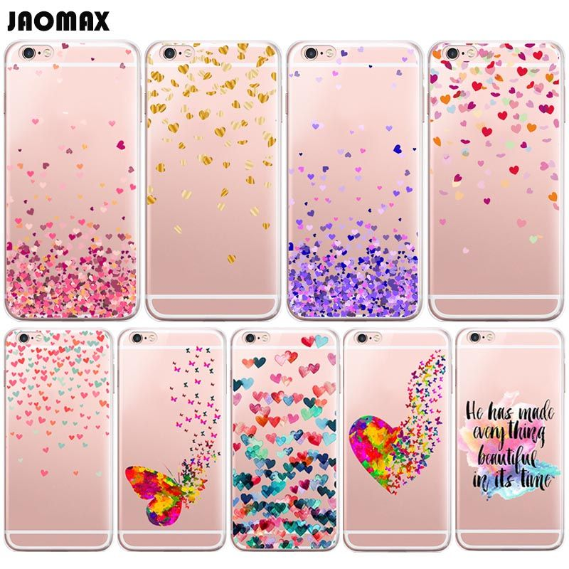 Colorful Butterfly Heart Design Soft Phone Case For Iphone 6 Plus 6s