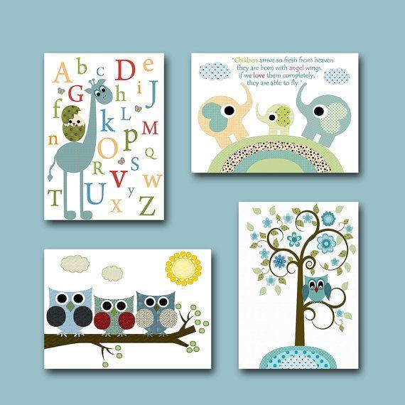 Childrens Wall Art Baby Room Decor Owls Boy Nursery Print Set Of