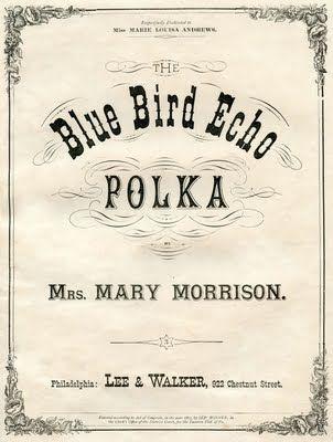*The Graphics Fairy LLC*: Vintage Ephemera Graphic - Sheet Music Cover - Blue Bird Polka