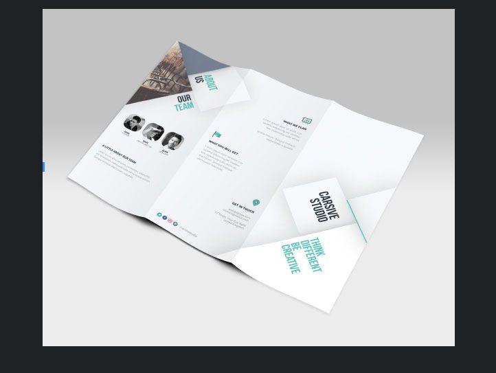 Free Clean Company Profile Tri Fold Brochure Template Beraksi