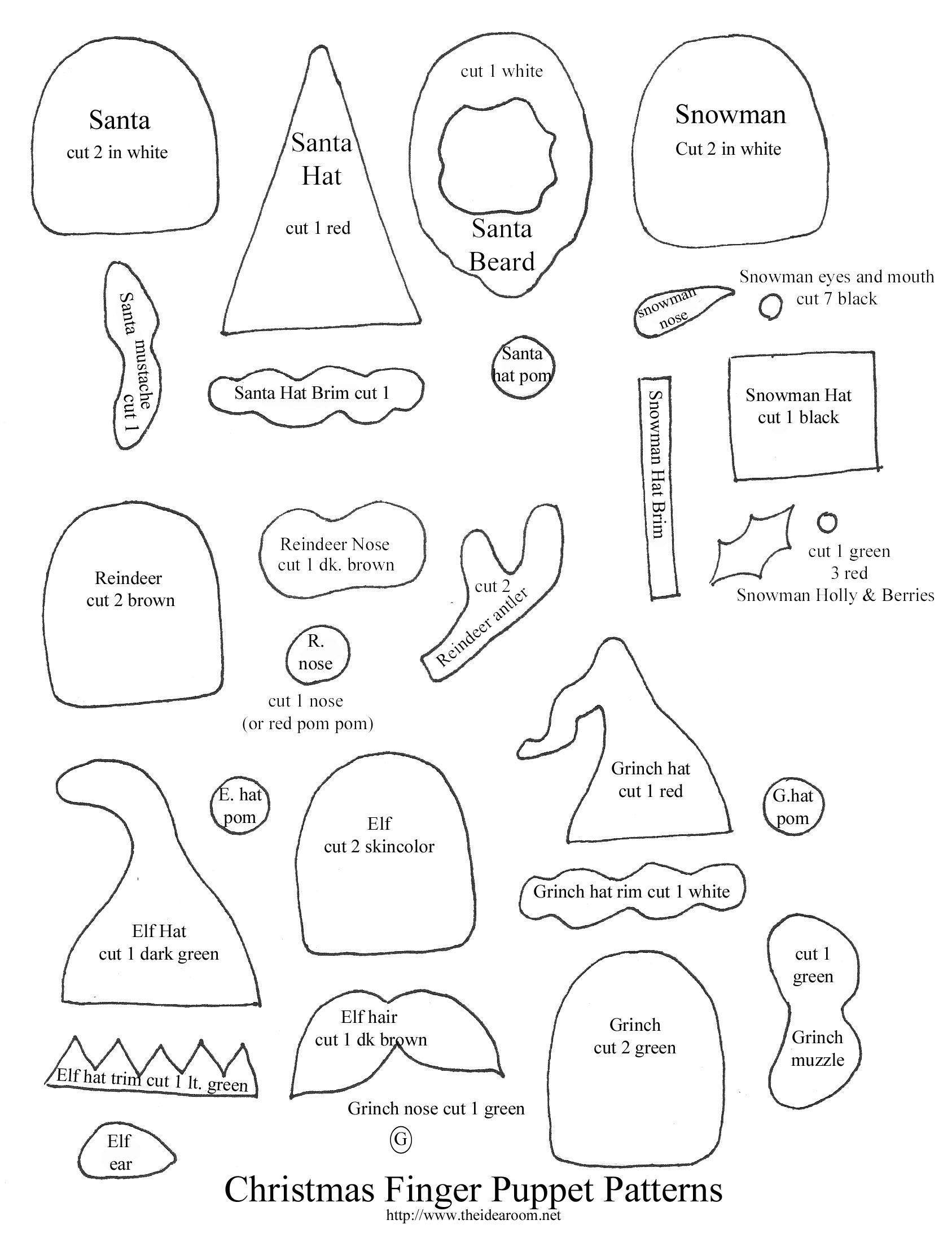 Displaying Christmas Finger Puppet Patterns