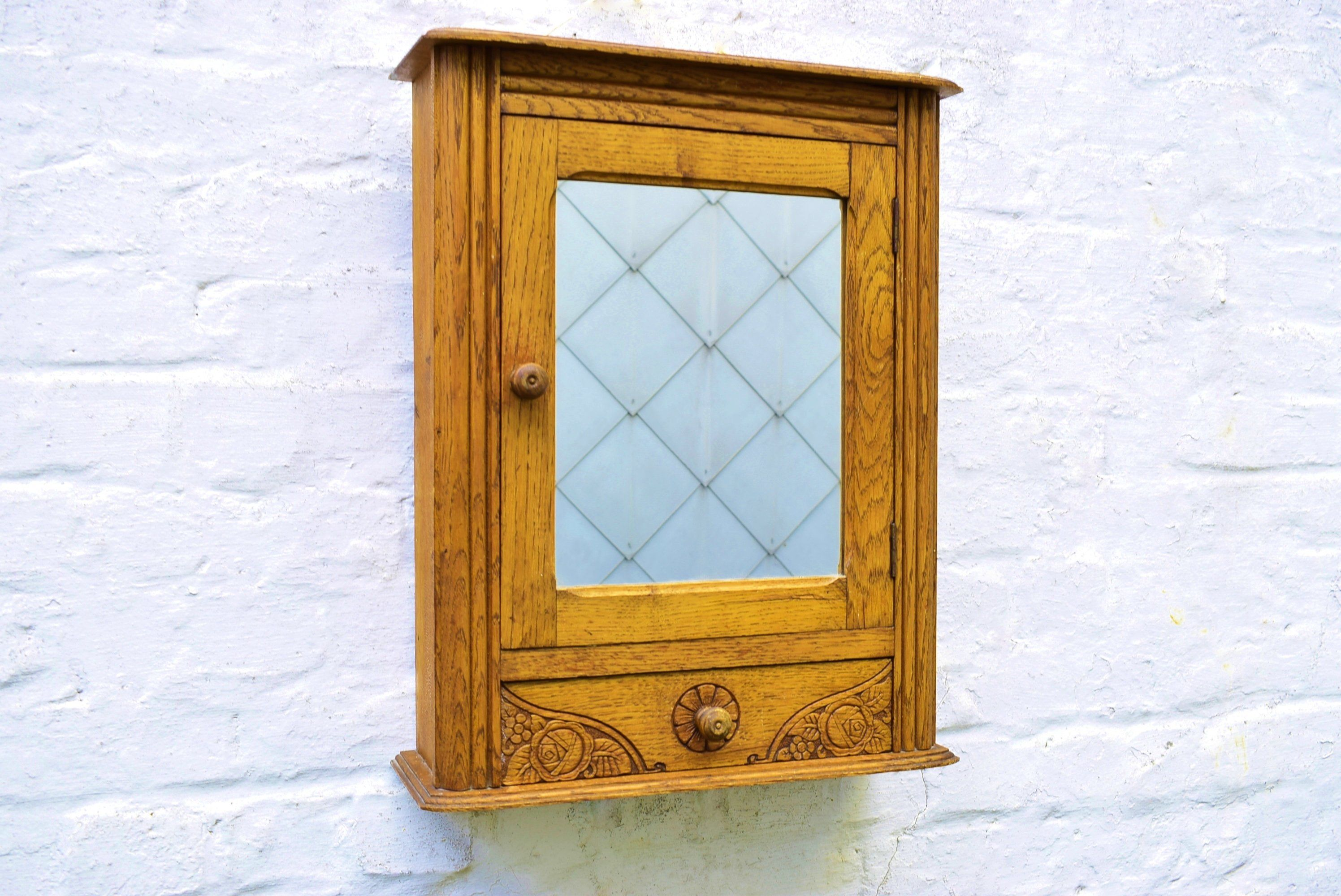 Antique Apothecary Cabinet In Oak Art Deco Medicine Cabinet Etsy Bathroom Furniture Modern Wooden Bathroom Storage Bathroom Furniture Storage