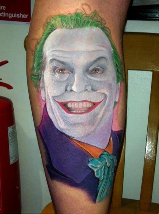 Jack Nicholson Joker Tattoo Skin Art I Dig Tattoos Comic Tattoo
