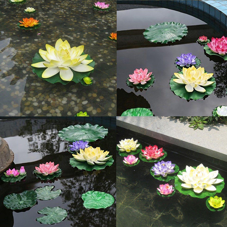 Legendog 13 Pcs Artificial Floating Lotus Flowers With Fake Lotus