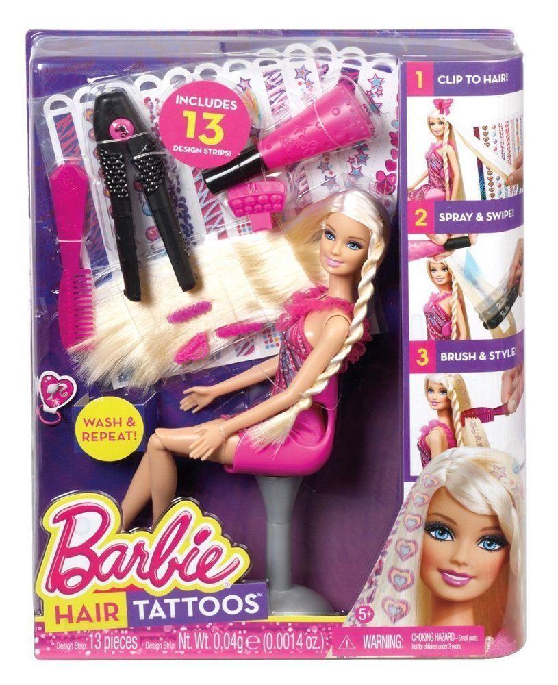 Barbie Doll Hair Tattoo Playset For Girls Hair Play Toy Brand New Bnib Gift Barbie Hair Playing With Hair Doll Hair