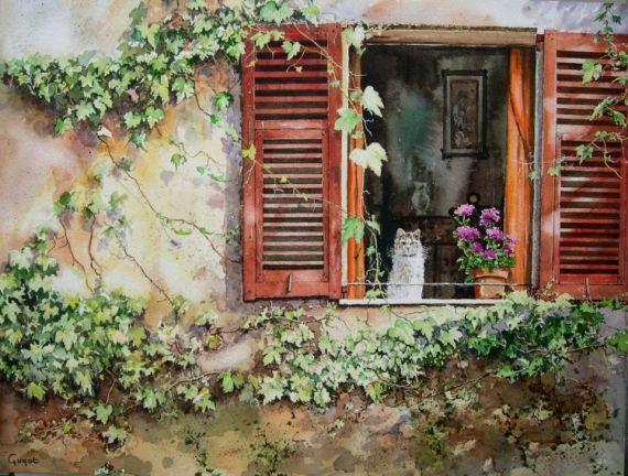 tableau peinture fen tre volets vigne vierge chat sc ne de. Black Bedroom Furniture Sets. Home Design Ideas