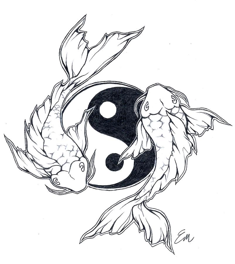 5d8548200 Yinyang Koi fish tattoo design by Les-belles-soeurs.deviantart.com on @ deviantART