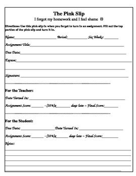 The Pink Slip Missing Assignment Form Science Education