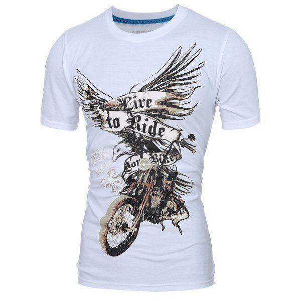 a0c8c02d $14.30 Stylish Round Neck 3D Eagle Print Short Sleeve T-Shirt For Men -  White