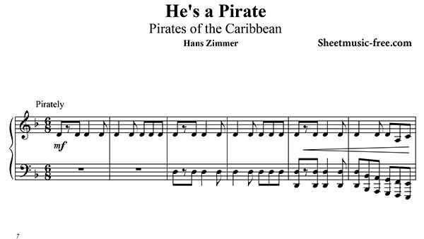 He's A Pirate Piano Sheet Music Pirates of the Caribbean