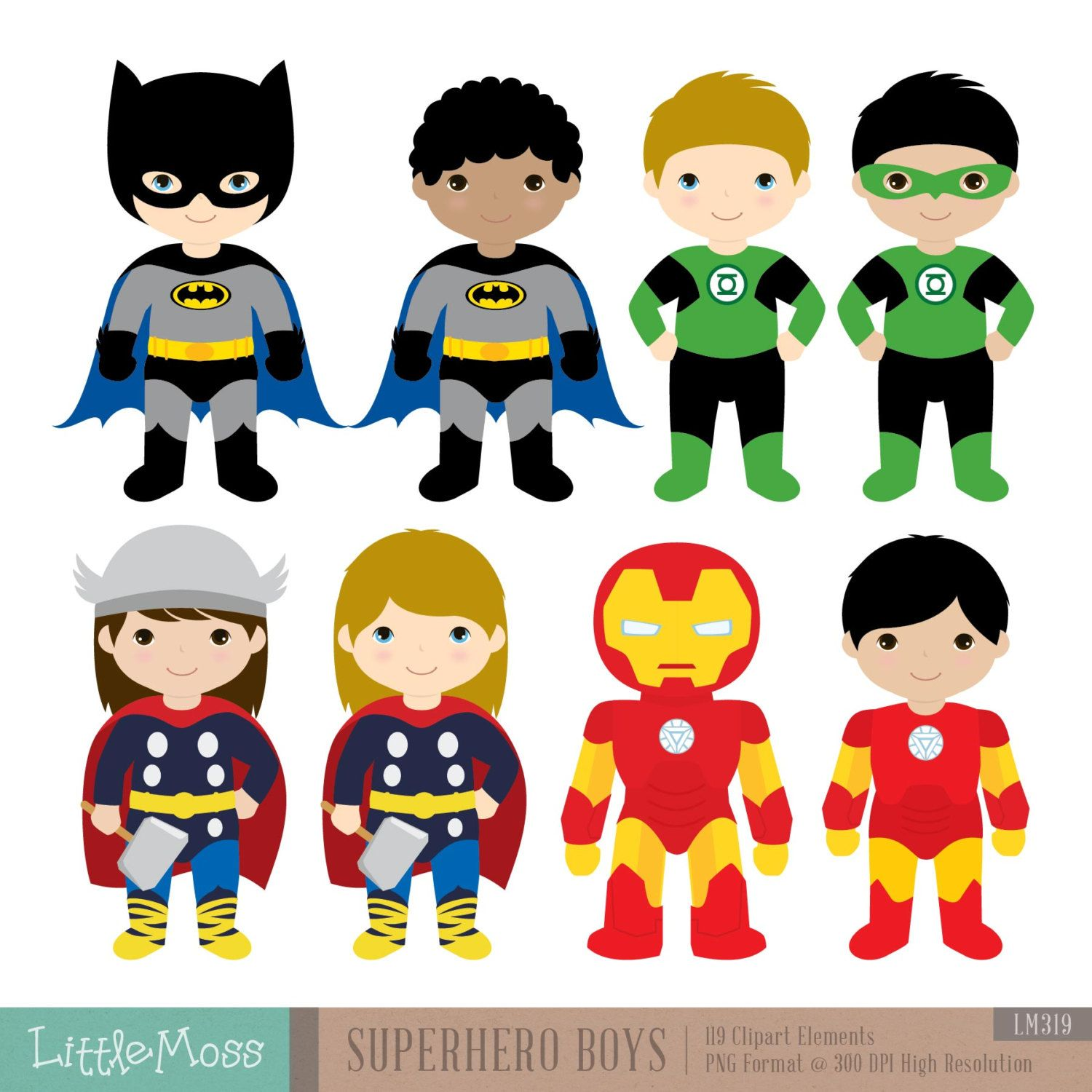 Superhero Art For Little Boys: 18 Boys Superhero Costumes Clipart Superheroes By