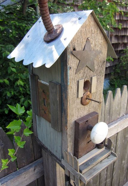 Found and reclaimed pieces are used to create this Cool Junky Birdhouse   Home and Garden   CraftGossip.com