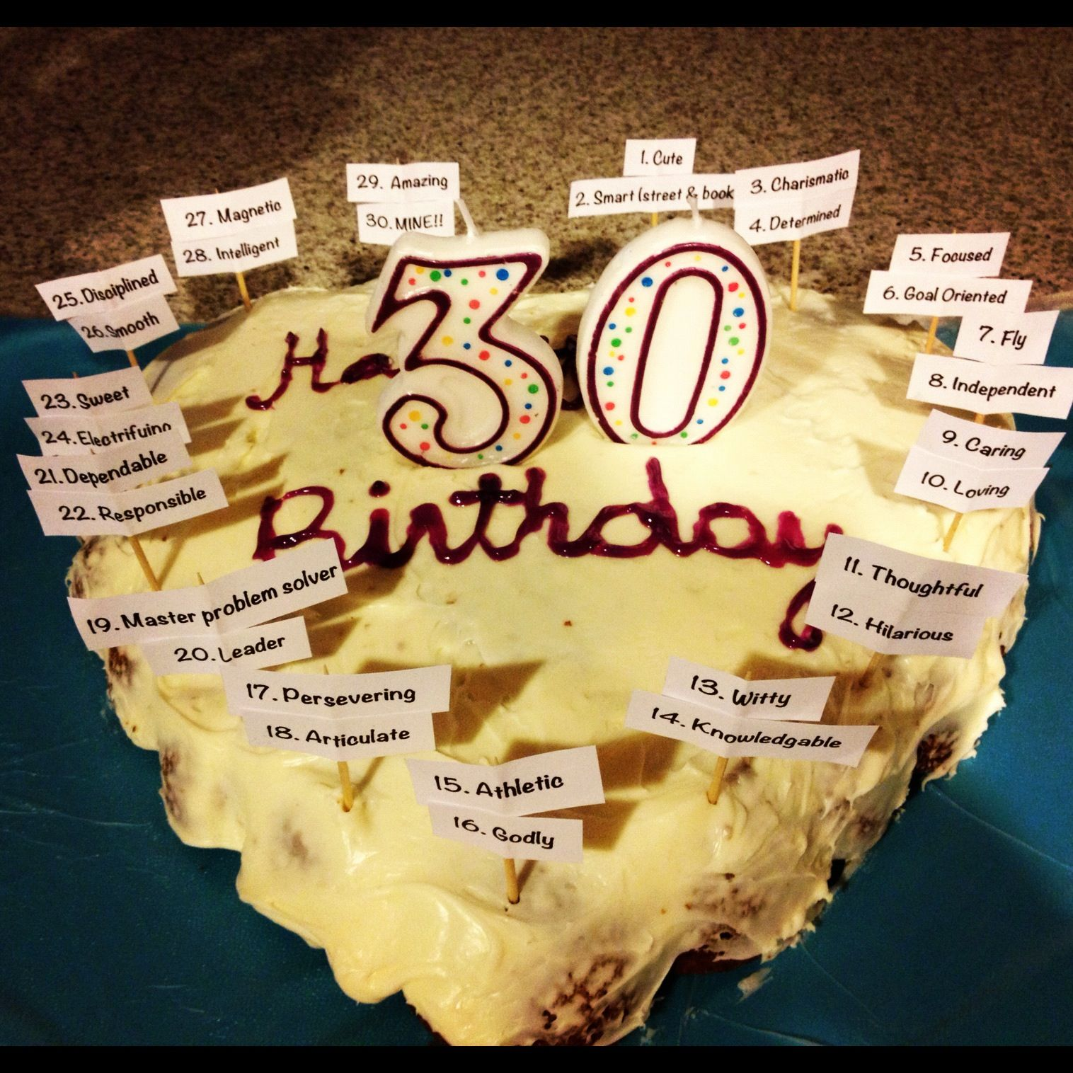 Birthday ideas for him - Birthday Cake For My Fianc For His 30th Birthday Added 30 Qualities About Him