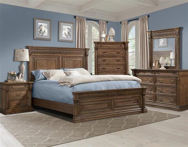 Venetian Traditional Pecan Wood Master Bedroom Set Master Bedroom Set Bedroom Sets Bedroom Set