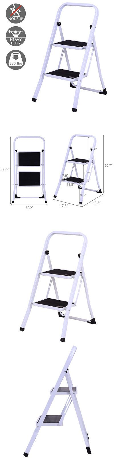 Ladders 112567 2 Step Ladder Folding Steel Step Stool Anti Slip Heavy Duty With 330lbs Capacity Buy It Now Only 32 99 Step Ladders Steel Stool Step Stool